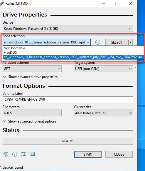 انتخاب فایل ایزو و یا سیستم عامل مورد نظر جهت بوت شدن در Rufus